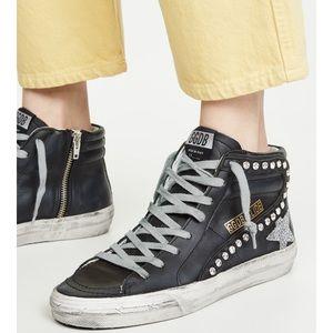 Golden Goose Slide Sneaker Black/Crystal Studs NIB